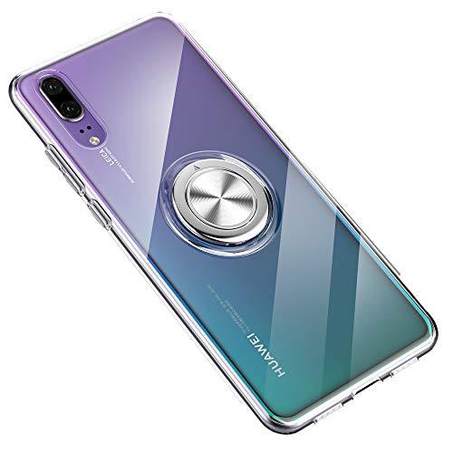 SORAKA Coque Transparente pour Huawei P20 Pro avec Anneau Rotatif à 360 degrés Mince Coque Transparente en TPU avec Plaque Métallique pour Le Support de téléphone de Voiture magnétique