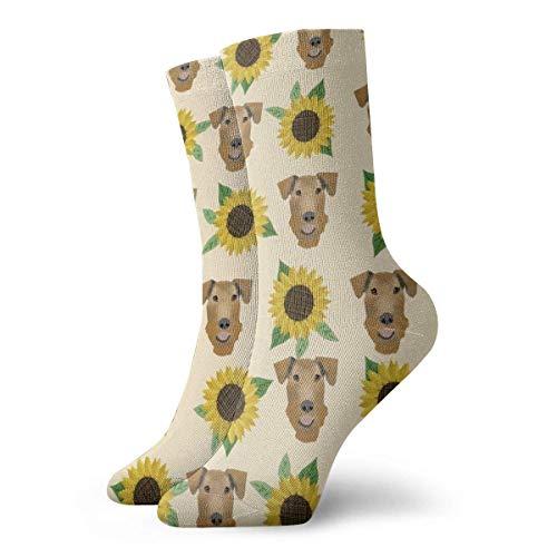 shenguang - Calcetines deportivos divertidos con crema de girasol y flores Airedale para mujer, calcetines deportivos informales de 30 CM