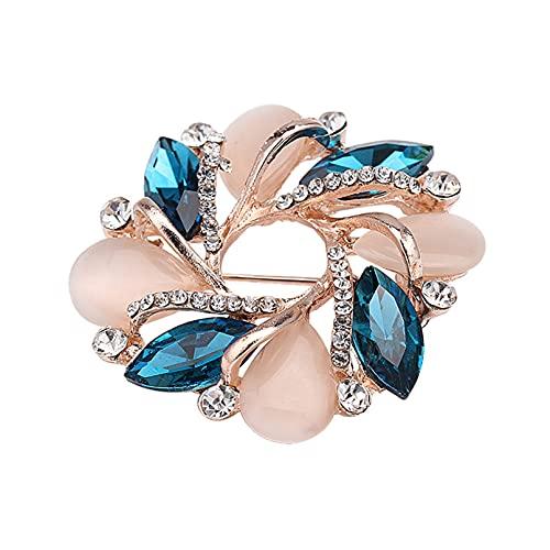 QXPDD Broche en forma de flor con cristal brillante y elegante accesorios de ropa creativa para mujeres y niñas vestido decorativo