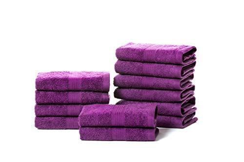 Rare Fig Juegos de Toallas Juego de Regalo de Toalla de algodón Puro Altamente Absorbente para baño, peluquería, Toallas para Invitados, Toallas de SPA y Masaje - 12 Piezas 30X30cm (Morado)