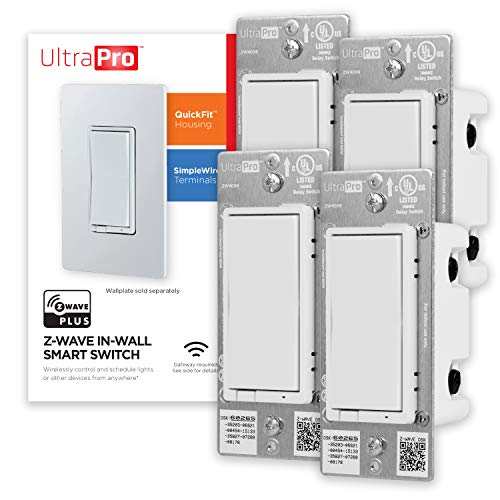 UltraPro Z-Wave Plus Smart Light Switch, In-Wall White & Almond Paddles | Built-In Repeater Range Extender | ZWave Hub Required-Alexa and Google Assistant Compatible, 4 Pack, 54891, White, 4