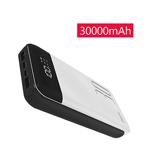 30000mAh Power Bank, meiyi Huge Capacity Portable Battery Charger with 2 USB Output Ports, LED Display 2 Inputs External Battery Pack for iPhone iPad Samsung Android Phones GT30