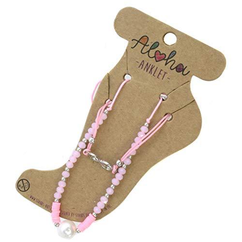 Aloha Girls Womens Pink Pearl Infinity Anklet Ankle Bracelet Adjustable Beach Bead Foot Jewellery