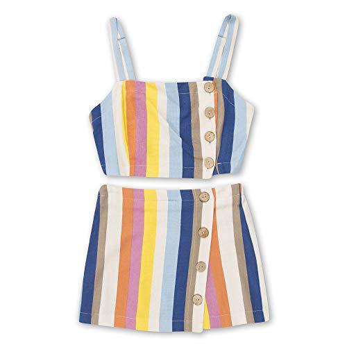 Speechless Girls' Sleeveless Top and Skirt 2-Piece Set, Multi Stripe, X-Large