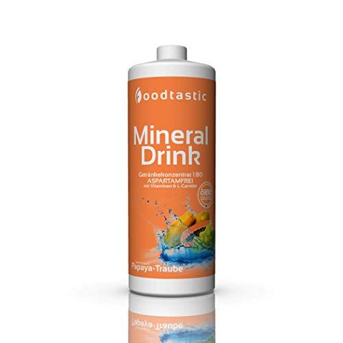 Foodtastic Low Carb Mineral Drink Papaya-Traube, 1000ml Flasche, zuckerarm Vital Getränke Sirup Konzentrat 1:80 zum Mischen in Wasser