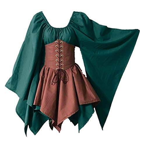 Gemira Halloween Costumes for Women Steampunk Gothic Victorian Corset Bustier Dress Cosplay Medieval Costume Plus Size