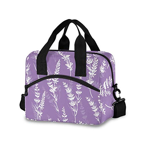 Lavender Flowers Purple Lunch Bags for Women Crossbody Lunch Bag lunch Box Lunch Cooler Bag(3na0a)