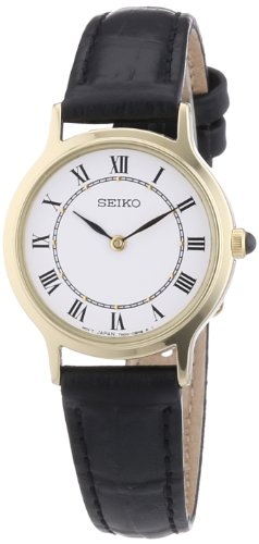 Seiko Quarz Damen-Uhr Edelstahl mit Lederband SFQ830P1