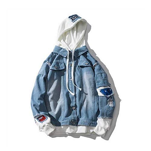XIELH Oversize Denim Jeans Jas Mannen Lente Heren Hooded Jassen Jeans Plus Size Hip Pop Jeans Jas Mannelijke Kleding