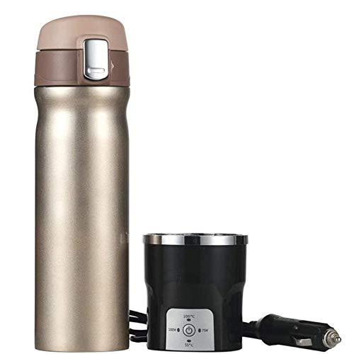 Adesign Taza de calefacción eléctrica del coche, taza de café 12V 350 ml de acero inoxidable de acero inoxidable automóvil calentador de agua caliente botella de calentador de agua portátil viajes elé