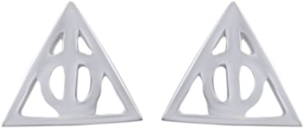 c35ad44fc Jewel Zone US Harry Potter Deathly Hallows Stud Earrings in 14K White Gold  Over Sterling Silver