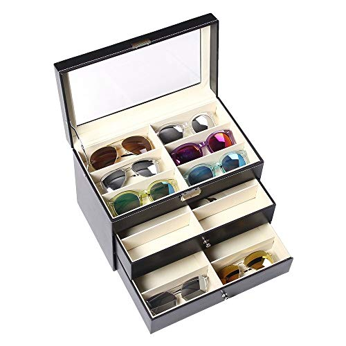 Penxina 18 Slots Sunglasses Organizer, Eyeglasses Eyewear Display Case, Sunglass Glasses Jewelry Collection Case Storage Holder Box with Clear Glass Lid (18 Slots Leather)