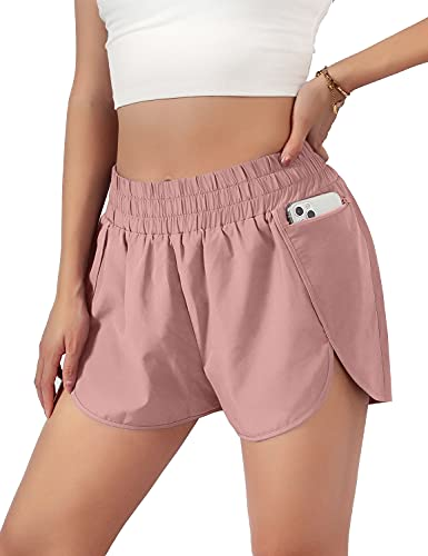 Blooming Jelly Womens Quick-Dry Running Shorts Sporty Elastic Waist Athletic Workout Shorts with Pockets 1.75' (Medium, Pink)