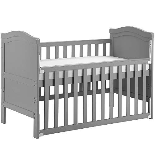 Takefuns Massivholz Babybett Kleinkindbett mit Schaumstoff-Matratze, wandelt sich in ein Juniorbett um,...