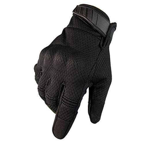 Guantes Tácticos al Aire Libre Guantes de Moto con Respirable Antideslizante Pantalla Táctil para Motocicleta, Esquí y Otros Deportes al Aire Libre,Black,L