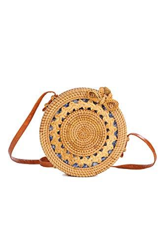 Ulisty Diseño de Talla Hueca Redondo Bolso de la Cesta de ratán Bolso de Paja de círculo Bolso Hecho a Mano Bolso de la Armadura Bolso Tejido a Mano Bolsa de Hombro para Mujeres/niñas Forro azu