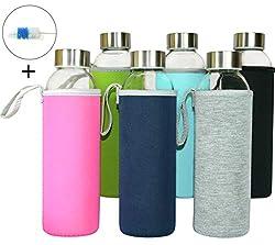Wenburg Glasflaschen 500ml, 6 St. im Set + Bürste, Robuste Trinkflaschen aus Glas für Säfte, Tee, Wasser, Smoothies. Geeignet für Erwachsene, Kinder. Sport-Flasche. BPA-frei (Mit Schutzhüllen, 0,5 l)