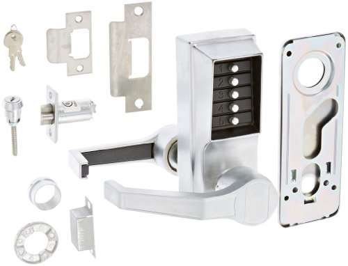 Kaba Simplex 900 Series Metal Mechanical Pushbutton Auxiliary Lock with Thumbturn 25mm Deadbolt Latch Fits 44mm to 54mm Thick Door Satin Chrome Finish Kaba Ilco 90426D
