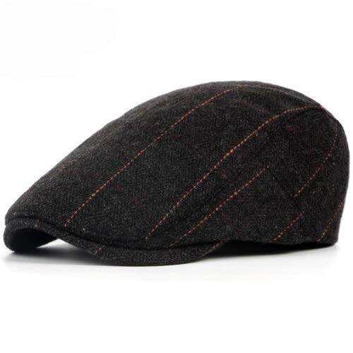 WAZHX Otoño Invierno Hombres Gorra Sombreros Boinas Estilo Británico Occidental Lana Gorra De Hiedra Plana Avanzada Gorra De Boina A Rayas Vintage Clásica Negro