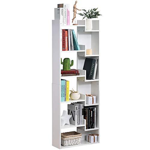 HOMCOM Estantería de 6 Niveles Librería Vertical de Forma Irregular Diseño Moderno Sistema Antivuelco 60x21x162,5 cm Blanco