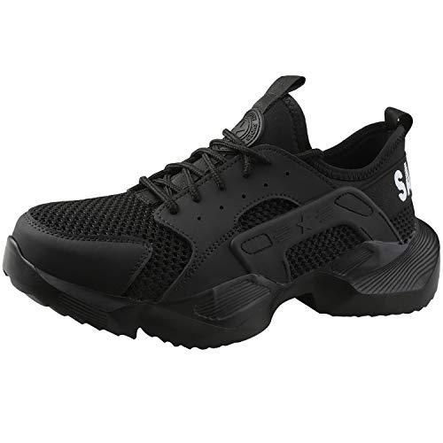 UCAYALI Zapatos de Seguridad Hombre Verano Zapatillas para Trabajar Ligeros Calzado de Seguridad Comodos con Punta de Acero Transpirables Deportivas de Seguridad(024 Negro, 43 EU)