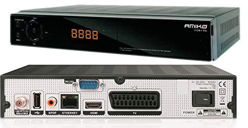 HD Sat Receiver H265 HEVC Full HD (1080p) USB, Vorprogrammiert mit Österreich-Liste Sat Amiko 8155, Teletext, Internet, M@tec Hdmi Kabel Full HD -schwarz