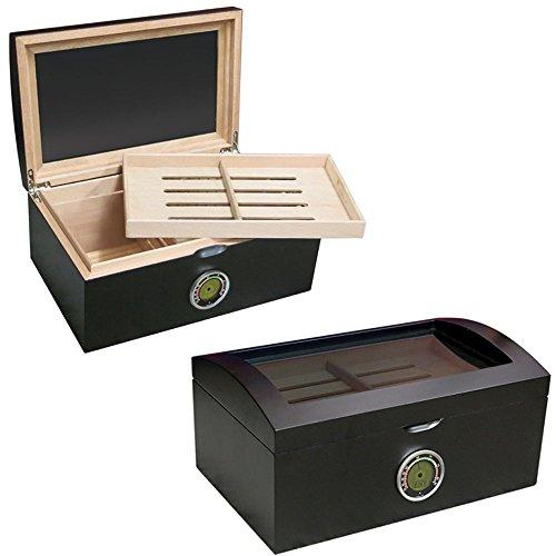 Prestige Import Group Portofino Domed Glass Top Cigar Humidor - Up to 100 Capacity - Color: Matte Black Finish