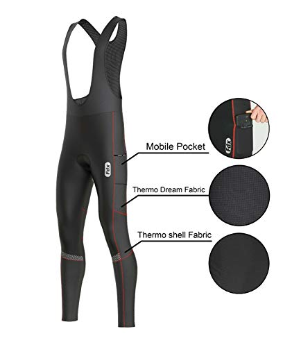 FDX Herren Trägerhose für den ganzen Tag, 3D-gepolsterte Thermo-Taschen, Winter-Radhose, Schwarz / Rot, Größe L