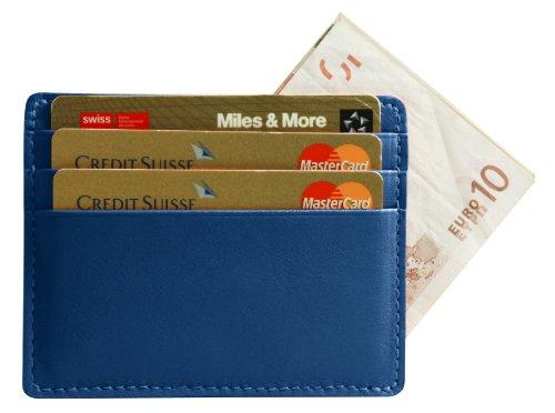 Lucrin - Etui simple pour cartes et billets - Vachette lisse - Cuir - Bleu Roi