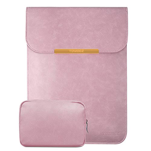 TOWOOZ Laptop Sleeve Case Compatible with 2016-2020 MacBook Air/MacBook Pro 13-13.3 inch/iPad Pro 12.9 / Dell XPS 13/ Surface Pro X, with Small Bag, Faux Suede Leather (13-13.3inch, Light Pink)