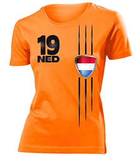 Holland Niederlande Netherlands Nederland Fanshirt Fussball Fußball Trikot Look Jersey Damen Frauen t Shirt Tshirt t-Shirt Fan Fanartikel Outfit Bekleidung Oberteil Hemd Artikel