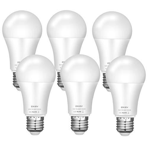 ZIKEY E27 LED Lampe, 10W (Ersetzt 70W Glühbirne), Warmweiß 3000K, 900 Lumen, A60 Birne Leuchtmittel, Nicht Dimmbar, 6er Pack