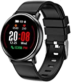 Smart Watch for Android Phones and iPhone Compatible, Smartwatches for Women Men, Fitness Tracker Watch with Heart Rate and Sleep Monitor, Calorie Counter, IP68 Waterproof, Color Touch Screen, Black
