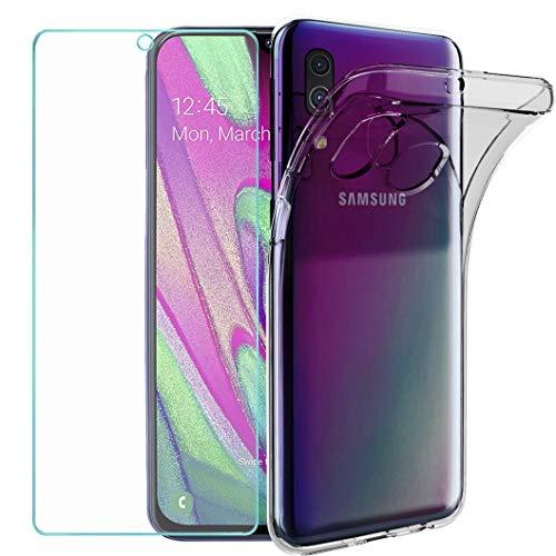 Wanxideng - Cover per Samsung Galaxy A40 + Pellicola Protettiva in Vetro Temperato, Custodia Morbida Trasparente Sottile in Silicone TPU - Transparent