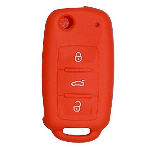 Happyit Cas de Couverture de Clé de Voiture de Silicone pour Volkswagen VW Polo Passat B5 Golf 4 5 6 Jetta Mk6 Tiguan Gol CrossFox Plus EOS Scirocco Beetle 3 Boutons Clé Intelligente (Rouge)