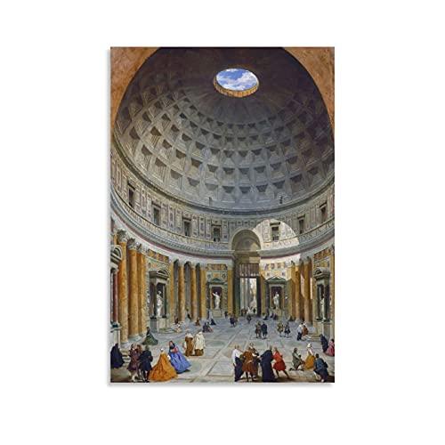 Stampa artistica su tela di Giovanni Paolo Panini Interior The Pantheon Art Poster e Wall Art Stampa Moderna Camera da Letto Familiare Poster 50 × 75 cm