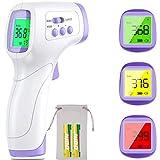 Thermomètre Frontal sans contact, Thermomètre Infrarouge numérique pour Bébé Enfants Adultes Thermomètre avec mesure Précise et Rapide, Grand Écran LCD et Alerte Fièvre [Piles et Pochette incluses]