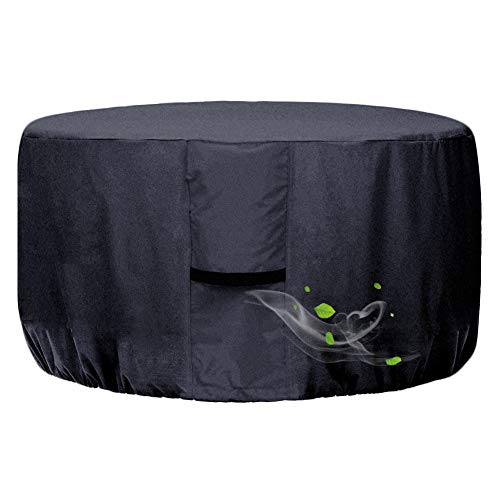 Onlyme Round Gas Fire Pit Cover 32 Inch Waterproof Oxford Fabric Fire Pit Table Cover for Outdoor and Indoor, Anti-UV, Windproof - Black ( 32 x 16 inch)