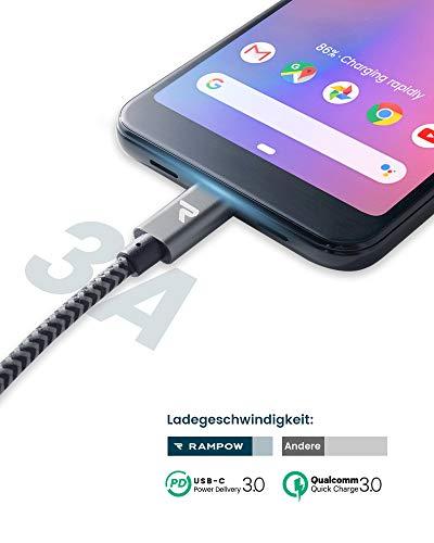 RAMPOW USB C auf USB C Kabel, USB Typ C Kabel, 1M, 60W 20V/3A PD Schnellladekabel mit Nylon Geflochtenes für MacBook Pro, iPad Pro, MacBook Air, ChromeBook Pixel, Galaxy S20/S10, Huawei P30 - Grau