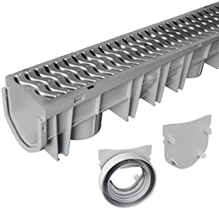 (H&H) Source 1 Drainage Trench & Driveway Channel Drain With Galvanized Steel Grate