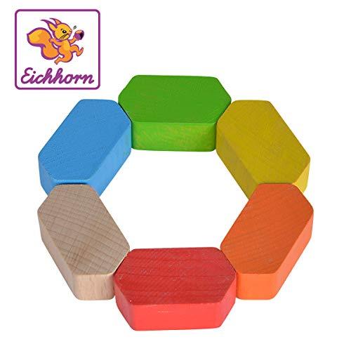 Eichhorn 100017037 Baby Greifling Sechseck, geometrischer Greifling zur Förderung der motorischen Fähigkeiten, bunt, aus FSC 100 Prozent zertifiziertem Buchenholz, ab 3 Monaten