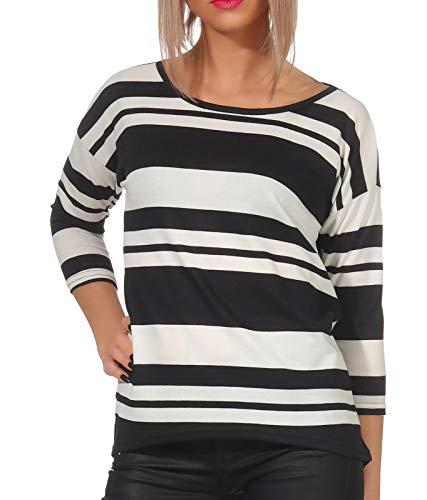 Oferta de Only onlELCOS 4/5 Top JRS Noos suéter, Multicolor (Black AOP: Thin/Thick Stripes), 36 (Talla del Fabricante: X-Small) para Mujer