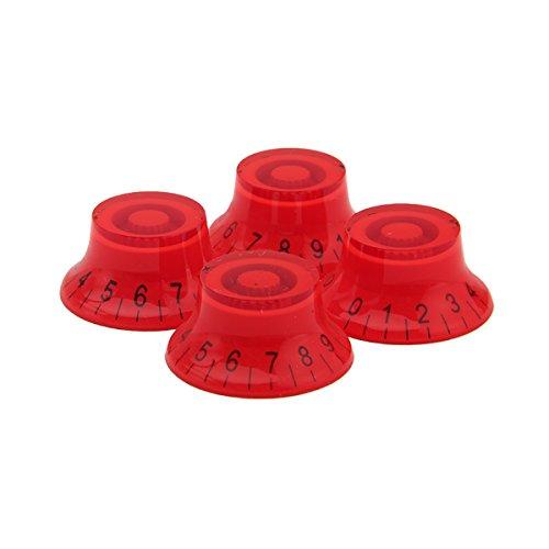 4pcs Red ABS Top Hat Guitar Speed Bell Knob Volume Tone Control Knob 6mm