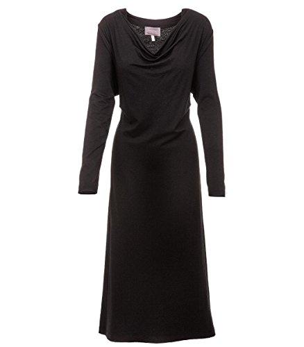 Sempre piu Jerseykleid schwarz Langarm mit Wasserfallausschnitt XXL Damen Kleid in Übergröße A-Linie Große Größen, Größe:46