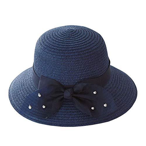 ZX-cappello Di Paglia Donna Cappello Estivo da Sole Pieghevole Cappello da Spiaggia Cappello per Visiera All'aperto (Colore : Blu, Dimensioni : 56-58cm)
