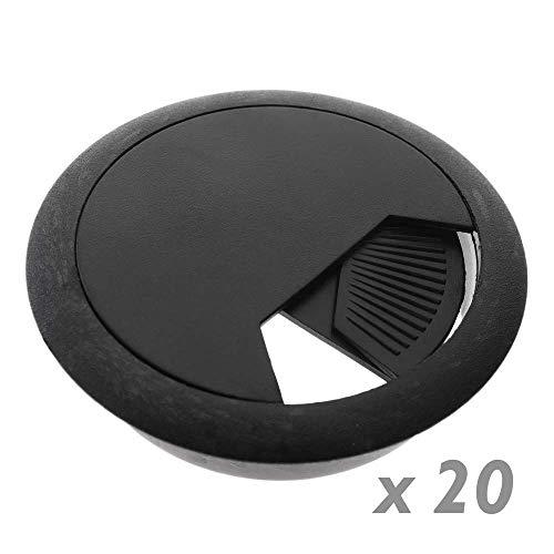 BeMatik - Lote de 20 pasacables Redondo para encastrar en Mesa de Color Negro y diametro 60 mm