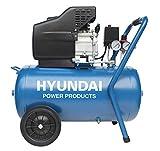 HYUNDAI Kompressor AC55802 (Druckluftkompressor mit 50L Druckbehälter, ölgeschmiert, 8 bar, 1.5 kW (2.0 PS), 1 Schnellkupplung, Öl-/Wasserabscheider, Ansaugleistung 180 L/Min)