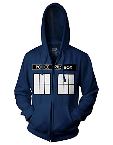 Ripple Junction Doctor Who Call Box Window Adult Zip Hoodie X-Large Navy