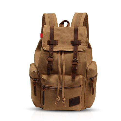 FANDARE Retro Mochila Ordenador 15.6 Pulgadas Portátil Estudiante Morral al Aire Libre Viaje Trabajo Escuela Lona