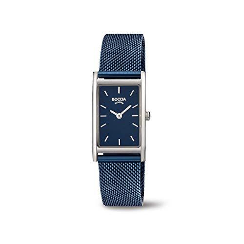 Boccia Damen Analog Quarz Uhr mit Edelstahl Armband 3304-01